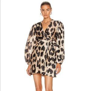 Ganni Leopard Silk Linen Dress
